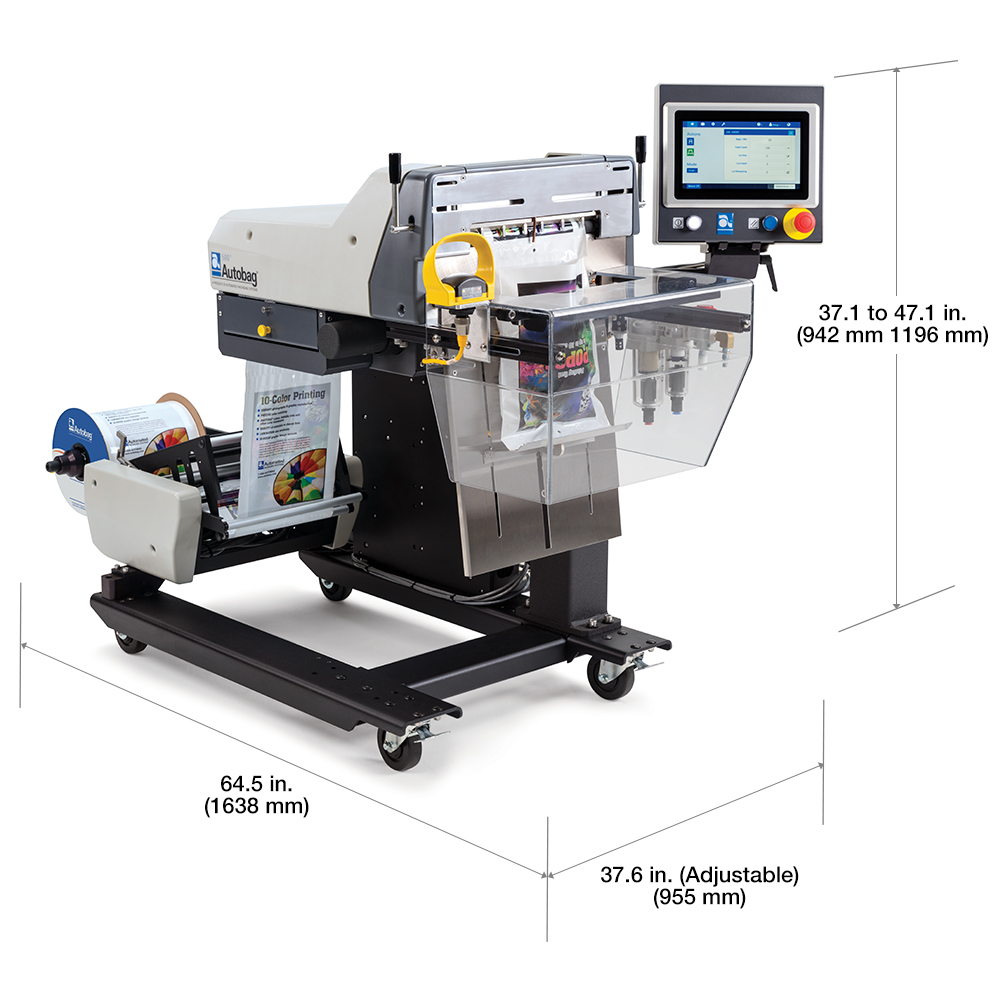 Autobag 500 Bagging System with dimensions