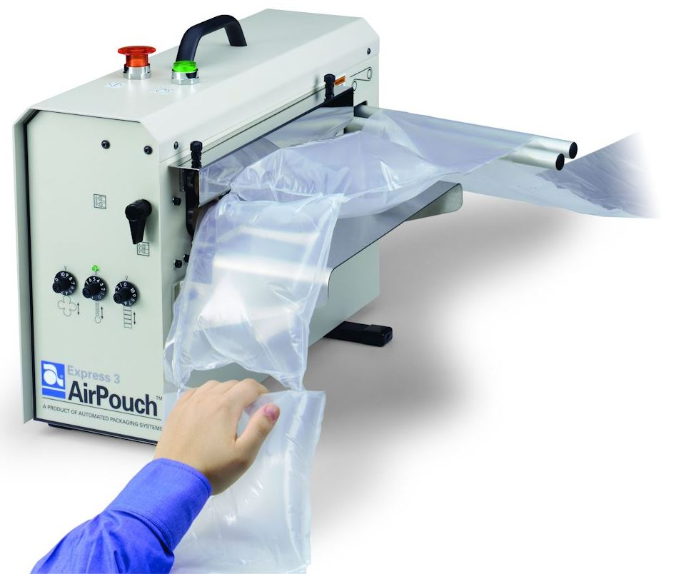 embalaje protector AirPouch de Automated Packaging Systems inflado a pedido
